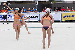 May 5, 2018 - Pasay, National Capital Region, Philippines - The first day of FIVB (Fédération Internationale de Volleyball) Beach Volleyball World Tour, Manila Open 2018, with its third day for women's quarter finals. Games are held on Sands SM by the Bay area of SM Mall of Asia...Its Philippines versus Japan for the quarter finals. Philippines team in blue top are (1) Cherry Ann Rondina and (2) Angeline Marie Gervacio. Japan team in orange top are (1) Shinako Tanaka and (2) Sakurako Fuji...Sakurako Fuji points to the spectators at her right after she makes a score. (Credit Image: © George Buid via ZUMA Wire)