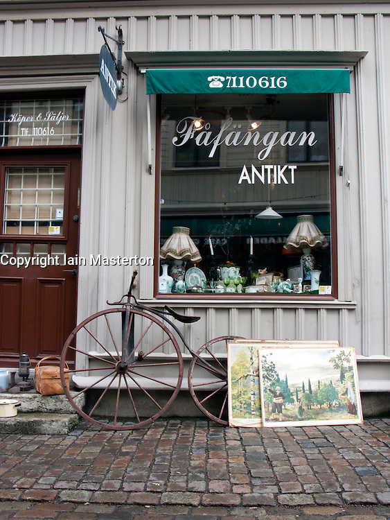 Antique shop on Haga Nygata street in old district of Haga in Gothenburg Swede 2009