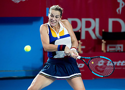 October 14, 2017 - Hong Kong, Hong Kong SAR, China - Anastasia Pavlyuchenkova puts effort into her shot.Russia's Anastasia Pavlyuchenkova moves into the finals following a win over China's Wang Qiang during their women's singles semi-final match at the Hong Kong Open tennis tournament on October 14, 2017. (Credit Image: © Jayne Russell via ZUMA Wire)