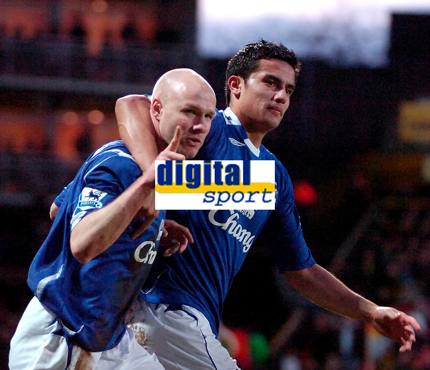 Photo: Ed Godden/Sportsbeat Images.<br /> Watford v Everton. The Barclays Premiership. 24/02/2007.<br /> Everton's Andy Johnson (L), celebrates after scoring a penalty to make it 2-0. Also pictured is team mate Tim Cahill.