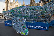 Plastic whale encouraging people to take action against single use plastic and to promote knowledge about the environmental disaster affecting the World's oceans and seas on 6th February 2018 in London, England, United Kingdom. Sky Ocean Rescue campaign outside Parliament Sky Ocean Rescue aims to highlight issues affecting ocean health, find innovative solutions to the problem of ocean plastics, and inspire people to make small everyday changes that collectively make a huge difference.