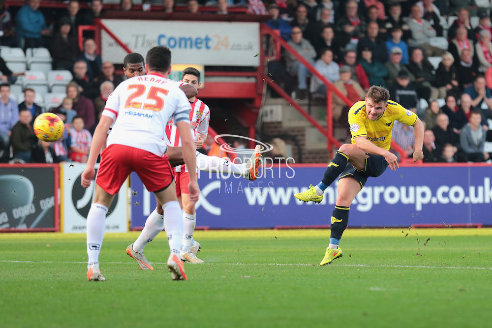 Oxford United midfielder Alex MacDonald during the Sky Bet League 2 match between Stevenage and Oxford United at the Lamex Stadium, Stevenage, England on 31 October 2015. Photo by Jemma Phillips.