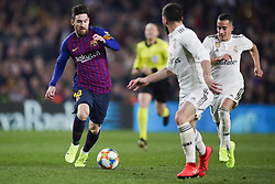February 6, 2019 - Barcelona, Catalonia, Spain - February 6, 2019 - Camp Nou, Barcelona, Spain - Copa del Rey - FC Barcelona v Real Madrid CF; Lionel Messi of FC Barcelona dribbles Daniel Carvajal of Real Madrid. (Credit Image: © Marc Dominguez/ZUMA Wire)