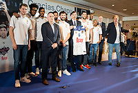 """Andres """"El Chapu"""" Nocioni with his Real Madrid's partners during the appearance of retirement as profesional basketball player at Stadium Santiago Bernabeu in Madrid, Spain. April 04, 2017. (ALTERPHOTOS/BorjaB.Hojas)"""
