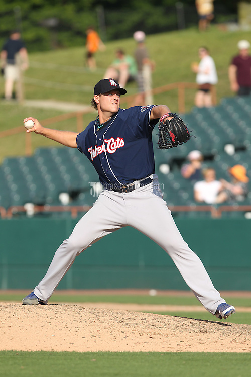 New Hampshire Fisher Cats pitcher Evan Englebrook #38 delivers a pitch during a game against the Bowie Baysox at Prince George's Stadium on June 17, 2012 in Bowie, Maryland. New Hampshire defeated Bowie 4-3 in 13 innings. (Brace Hemmelgarn)