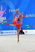 Mazur Viktoria of Ukrain competes during the Rhythmic Gymnastics Women's Individual ribbon Qualification of World Cup of Pesaro on April 2, 2016. Viktoria is ritired gymnast born in Luhansk  Ukraine in 1994.