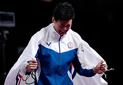 JAKARTA, Aug. 24, 2018  Tang Chia-Hung of Chinese Taipei celebrates after the Artistic Gymnastics Men's Horizontal Bar Final at the Asian Games 2018 in Jakarta, Indonesia on Aug. 24, 2018. (Credit Image: © Wang Lili/Xinhua via ZUMA Wire)