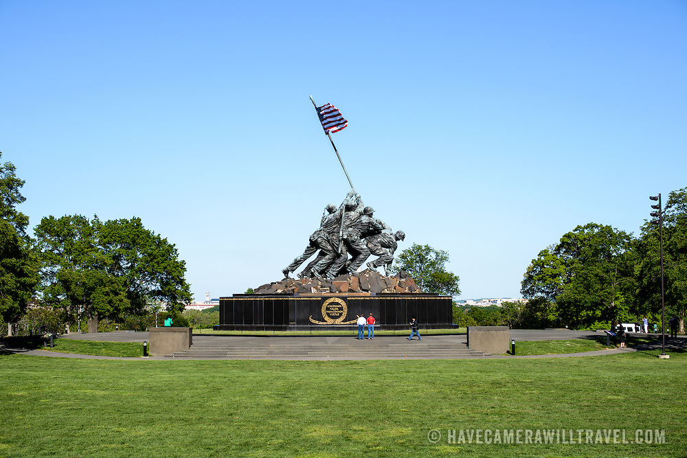 A wide-angle shot of the western face of the Iwo Jima Memorial (formally the Marine Corps War Memorial) in Arlington, Virginia, next to Arlington National Cemetery. The monument was designed by Felix de Wledon and is based on an iconic Associated Press photo called the Raising the Flag on Iwo Jima by Joe Rosenthal. It was dedicated in 1954.