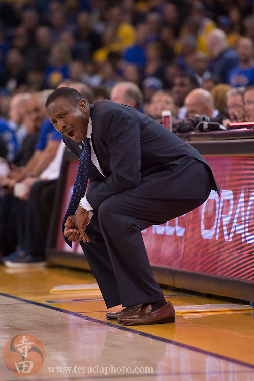 November 17, 2015; Oakland, CA, USA; Toronto Raptors head coach Dwane Casey reacts during the fourth quarter against the Golden State Warriors at Oracle Arena. The Warriors defeated the Raptors 115-110.