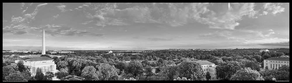Panoramic View of Washington, DC.  Includes The Capitol, Washington Monument, Smithsonian Mall, Organization of American States, Jefferson Memorial, Reagan National Airport, and Lincoln Memorial. Print Sizes (inches): 15x4.5; 24x7.5; 36x10.5; 48x14; 60x17.5; 72x21