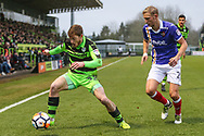 Forest Green Rovers Luke James(33) on the ball during the The FA Cup match between Forest Green Rovers and Exeter City at the New Lawn, Forest Green, United Kingdom on 2 December 2017. Photo by Shane Healey.