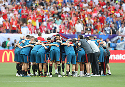 MOSCOW, July 1, 2018  Players of Spain cheer each other up prior to the 2018 FIFA World Cup round of 16 match between Spain and Russia in Moscow, Russia, July 1, 2018. (Credit Image: © Xu Zijian/Xinhua via ZUMA Wire)