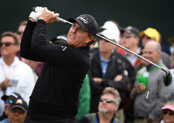April 6, 2017 - Augusta, GA, USA - Phil Mickelson watches his drive from the 8th tee during first-round action of the Masters Tournament at Augusta National Golf Club on Thursday, April 6, 2017, in Augusta, Ga. Mickelson finished the round at -1. (Credit Image: © Jeff Siner/TNS via ZUMA Wire)