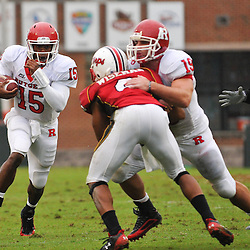 Sep 26, 2009; College Park, MD, USA; Rutgers quarterback Jabu Lovelace (15) runs the ball during the first half of Rutgers' 34-13 victory over Maryland in NCAA college football at Byrd Stadium.