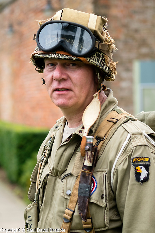 """Rufford Abbey 1940's Weekend <br /> Reenactor Portrait Paratrooper from the 101st  Airborne """"Screaming Eagles""""<br /> <br />  30 September 2017 <br />   Copyright Paul David Drabble<br />   www.pauldaviddrabble.co.uk"""