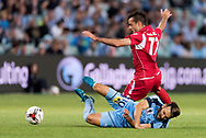 SYDNEY, NSW- NOVEMBER 21: Sydney FC midfielder Milos Ninkovic (10) and Adelaide United forward Nikola Mileusnic (17) come together at the FFA Cup Final Soccer between Sydney FC and Adelaide United on November 21, 2017 at Allianz Stadium, Sydney. (Photo by Steven Markham/Icon Sportswire)