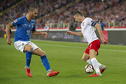 October 14, 2018 - Chorzow, Poland - Robert Lewandowski of Poland and Leonardo Bonucci of Italy during the UEFA Nations League A match between Poland and Italy at Silesian Stadium in Chorzow, Poland on October 14, 2018  (Credit Image: © Andrew Surma/NurPhoto via ZUMA Press)