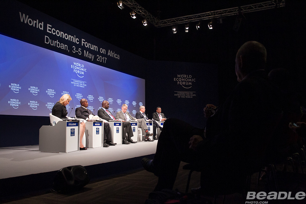 Nena Stoiljkovic, Vice-President, Blended Finance and Partnerships<br /> International Finance Corporation, Yoweri Kaguta Museveni, President of Uganda<br /> Office of the President of Uganda, Patrick Khulekani Dlamini, Chief Executive Officer and Managing Director<br /> Development Bank of Southern Africa, Andrew Baldwin, Managing Partner, Europe, Middle East, India and Africa<br /> EY, Carlos Poñe, Chief Executive Officer, Africa<br /> AECOM, Thierry Déau, Chief Executive Officer<br /> Meridiam Infrastructure at the World Economic Forum on Africa 2017 in Durban, South Africa. Copyright by World Economic Forum / Greg Beadle