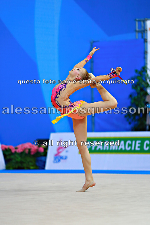 """Andreotti Jaedyn during clubs routine at the International Tournament of rhythmic gymnastics """"Città di Pesaro"""", 02 April,2016. Jaedyn is an Canadian individualistic gymnast, born in  Calgary, 2002.<br /> This tournament dedicated to the youngest athletes is at the same time of the World Cup."""