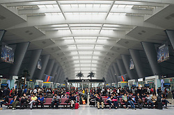 Passengers waiting for trains in modern new Beijing South Railway Station in China