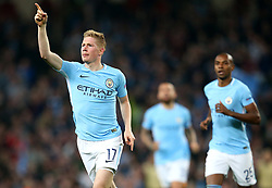 Kevin De Bruyne of Manchester City celebrates after scoring his sides first goal  - Mandatory by-line: Matt McNulty/JMP - 26/09/2017 - FOOTBALL - Etihad Stadium - Manchester, England - Manchester City v Shakhtar Donetsk - UEFA Champions League Group stage - Group F