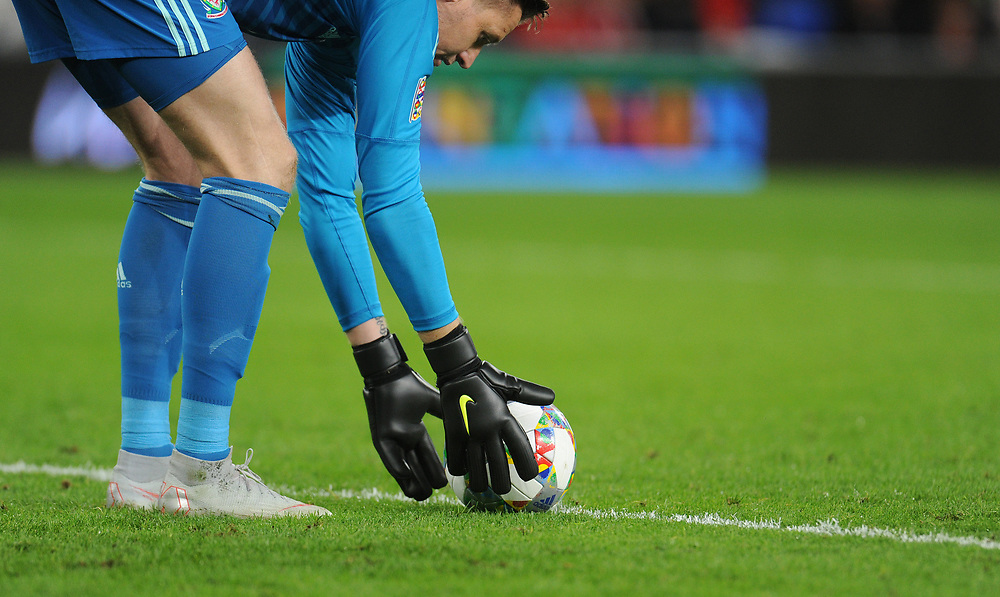Wales' Wayne Hennessey prepares to take a goal kick<br /> <br /> Photographer Kevin Barnes/CameraSport<br /> <br /> UEFA Nations League - Group Stage - League B - Group 4 - Wales v Republic of Ireland - Thursday September 6th 2018 - Cardiff City Stadium - Cardiff<br /> <br /> World Copyright © 2018 CameraSport. All rights reserved. 43 Linden Ave. Countesthorpe. Leicester. England. LE8 5PG - Tel: +44 (0) 116 277 4147 - admin@camerasport.com - www.camerasport.com
