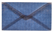 front of a closed blue colored security envelope
