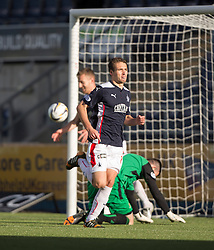 Falkirk's Luke Leahy celebrates after scoring their second goal. Falkirk 2 v 1 Alloa Athletic, Scottish Championship game played 4/10/2014 at The Falkirk Stadium.