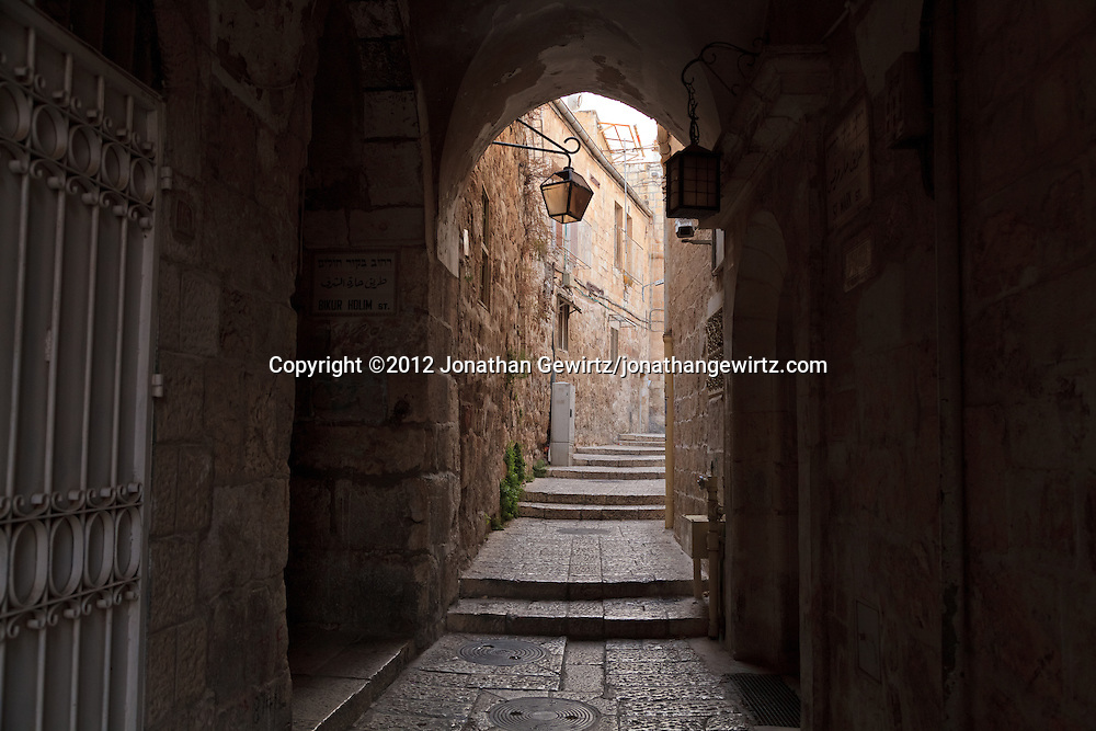The intersection of St. Mark and Bikur Holim streets in the Jewish Quarter of the Old City of Jerusalem. WATERMARKS WILL NOT APPEAR ON PRINTS OR LICENSED IMAGES.