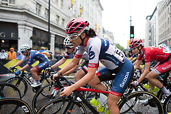 Gabrielle Pilote-Fortin (CAN) of Cervélo-Bigla Cycling Team leans into a corner in the third lap of the Prudential Ride London Classique - a 66 km road race, starting and finishing in London on July 29, 2017, in London, United Kingdom. (Photo by Balint Hamvas/Velofocus.com)