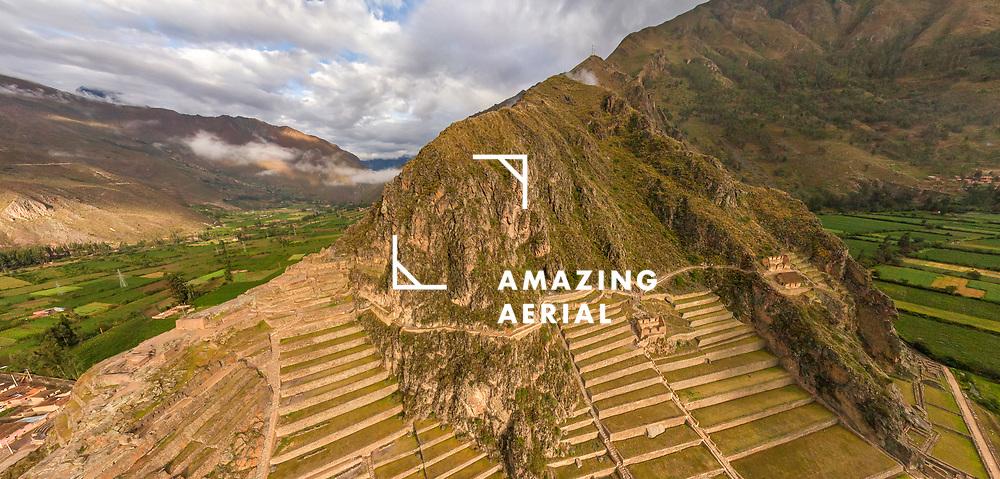 Aerial view of Ollantaytambo ruins, Peru
