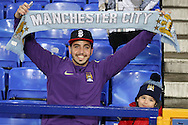 A Manchester City fan looks on prior to kick off. Capital one cup semi final 1st leg match, Everton v Manchester city at Goodison Park in Liverpool on Wednesday 6th January 2016.<br /> pic by Chris Stading, Andrew Orchard sports photography.