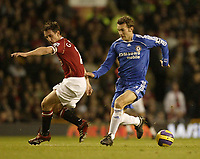 Photo: Aidan Ellis.<br /> Manchester United v Chelsea. The Barclays Premiership. 26/11/2006.<br /> Chelsea's Andry Schevchenko gets inside united's Gary Neville