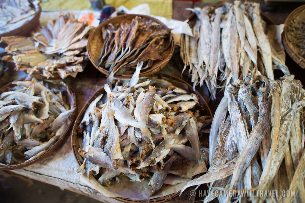 NYAUNG-U, Myanmar - Dried and salted fish on display at a stall at Nyaung-U Market, near Bagan, Myanmar (Burma).
