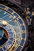 "The Prague astronomical clock, or Prague ""Orloj"" which is a medieval astronomical clock located at Old Town Square in the capital of Czech Republic."