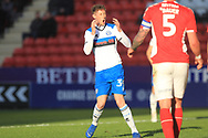 Joe Bunney reacts to his shot being saved  during the EFL Sky Bet League 1 match between Charlton Athletic and Rochdale at The Valley, London, England on 4 May 2019.