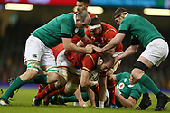 Alun Wyn Jones of Wales © is held up by the Ireland defence.RBS Six Nations 2017 international rugby, Wales v Ireland at the Principality Stadium in Cardiff , South Wales on Friday 10th March 2017.  pic by Andrew Orchard, Andrew Orchard sports photography