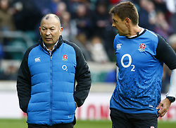 February 10, 2019 - London, England, United Kingdom - L-R England's Coach Eddie Jones and Scott Wisemantel Attacking Coach during warm up..during the Guiness 6 Nations Rugby match between England and France at Twickenham  Stadium on February 10th,  in Twickenham, London, England. (Credit Image: © Action Foto Sport/NurPhoto via ZUMA Press)