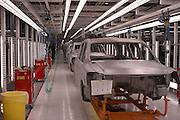 The production line for the yet to be released Nissan Armanda SUV.The ever expanding 1.4 Billion dollar Nissan car/truck plant in Canton Mississippi unviels the first car to roll off the production line to launch the new Quest Minivan Tuesday May 27,2003. The plant has 2.5  milion square feet inside and it will grow to 3.5 million when finally completed. There will be 5 vehicle models  built there including the new quest minivan launched today May 27,2003 in Canton, MS.Pictured is the high tech paint dept. (photo/Suzi Altman)