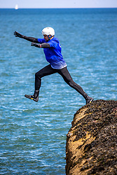 18MAY21 Matt jumping, out with Mollie Hughes and Stevie Boyle, Coasteering with Ocean Vertical at Dunbar.