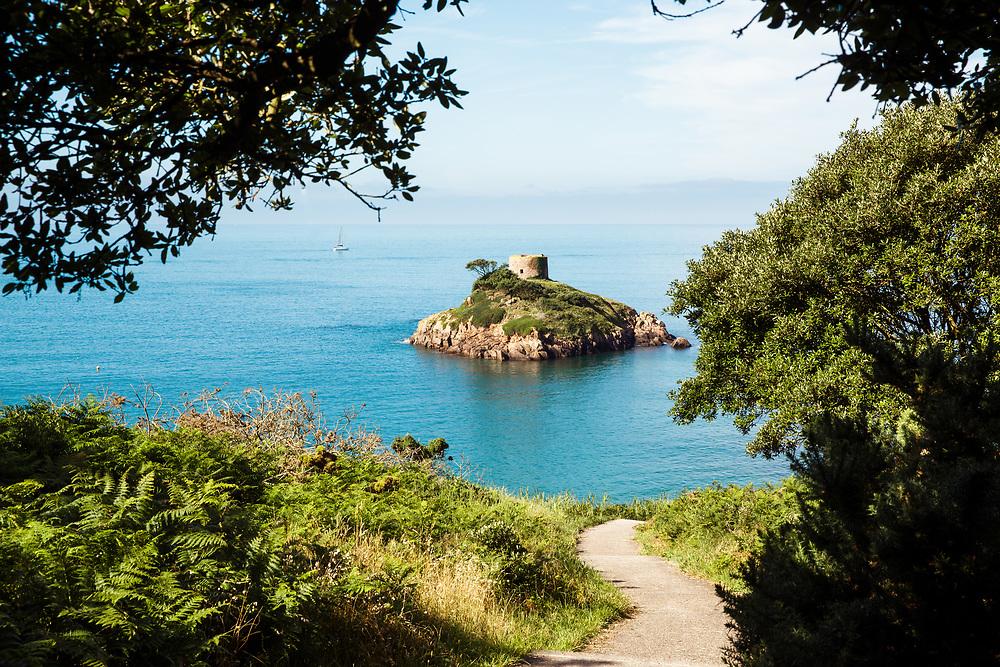 Pathway leading down to beautiful Portelet Bay, a hidden gem in Jersey, Channel Islands