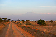 Mount Kilimanjaro the tallest free standing mountain in the world at the end of a dirt road, Tanzania, Africa