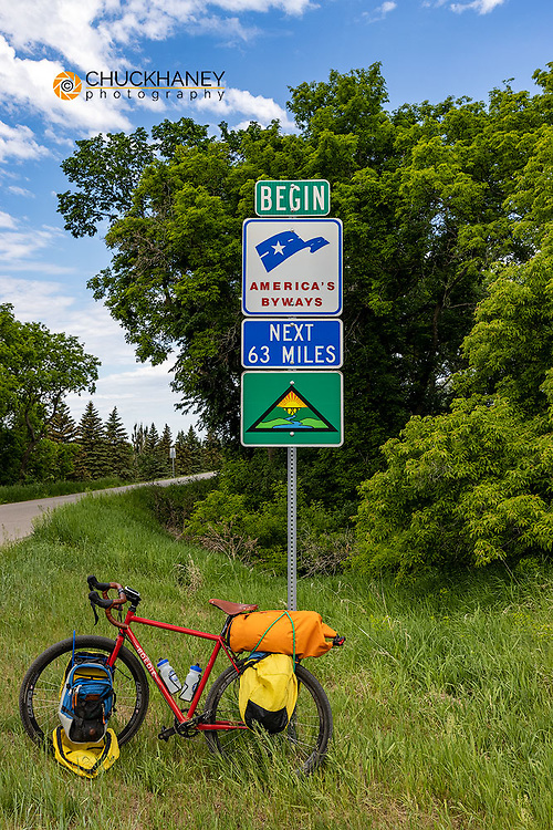 Bicycle touring along the Sheyenne Scenic Byway at southerrn end in Lisbon, North Dakota, USA