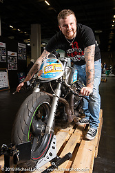 Stefan Bronold with his custom Nosferaturbo Moto Guzzi drag bike in the Intermot Customized Hall 10 Sultans of Sprint display at the Intermot International Motorcycle Fair. Cologne, Germany. Sunday October 7, 2018. Photography ©2018 Michael Lichter.