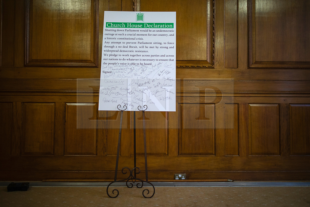© Licensed to London News Pictures. 27/08/2019. London, UK. The 'Church House Declaration', signed by a number of MPs and party leaders to assert their commitment to avoiding a no deal exit from the EU. Photo credit: Rob Pinney/LNP