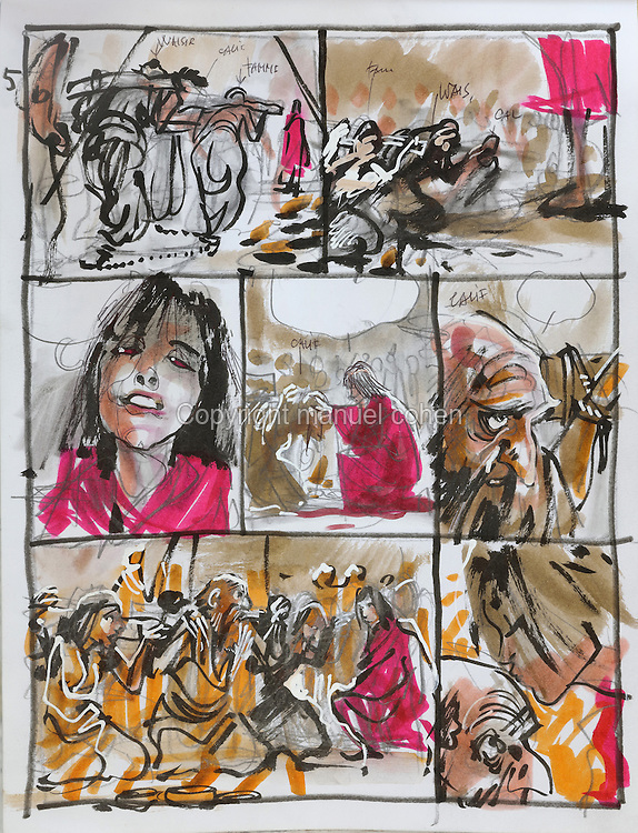 Storyboard page (no. 5) with the Calif, from a sketchbook featuring characters, costumes and storyboards for Le Feu Ecarlate or the Scarlet Fire, Series 35 of the Thorgal comic book series, to be published November 2016, by Grzegorz Rosinski, 1941-, Polish comic book artist. Rosinski was born in Stalowa Wola, Poland, and now lives in Switzerland, and is the author and designer of many Polish comic book series. He created Thorgal with Belgian writer Jean Van Hamme. The series was first published in Tintin in 1977 and has been published by Le Lombard since 1980. The stories cover Norse mythology, Atlantean fantasy, science fiction, horror and adventure genres. Le Feu Ecarlate takes place in Bag Dadh, a city under siege by the Magnus force, where Thorgal must find Aniel and save him from the Red Wizards who made him the reincarnation of their Grand Master Kahaniel. Picture by Manuel Cohen / Further clearances requested, please contact us and/or visit www.lelombard.com