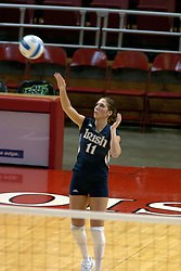 15 October 2005: Notre Dame Fighting Irish Danielle Herndon puts the ball in play. The Fighting Irish of Notre Dame knocked out the Illinois State Redbirds in 4 games.  The match was filled with several action packed vollies. A resonable fan base was on hand for this rare Monday evening competition at Redbird Arena on the campus of Illinois State University in Normal IL