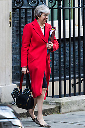London, November 22 2017. Prime Minister Theresa May leaves for Parliament ahead of The Chancellor of The Exchequer Philip Hammond's budget speech. © Paul Davey