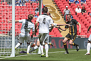 Christopher Swailes (Morpeth Town) scores for Morpeth Town and equalises. 1-1 during the FA Vase match between Hereford and Morpeth Town at Wembley Stadium, London, England on 22 May 2016. Photo by Mark Doherty.