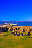 Tourists viewing the cannons, Fort Sumter National Monument, Charleston harbor, South Carolina